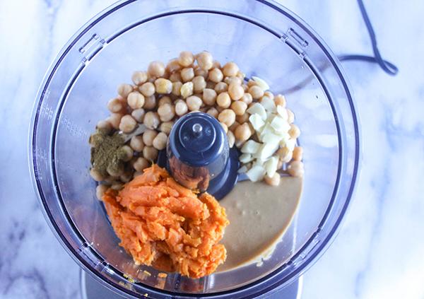 Sweet potatoes, chickpeas, tahini sauce, garlic and cumin in a food processor