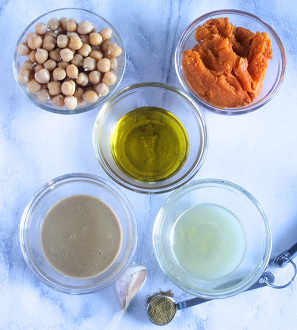 hummus ingredients, chickpeas, sweet potatoes, oil, lemon juice, tahini paste, garlic