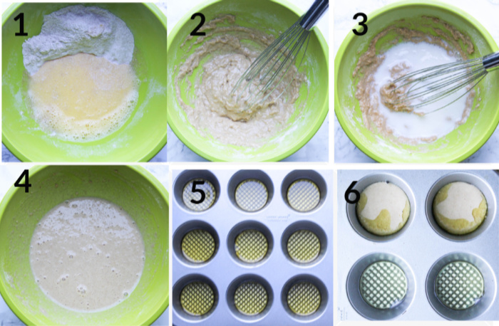 A collage with steps for making the batter combining eggs with flour adding milk pouring the batter into a muffin tin with hot oil