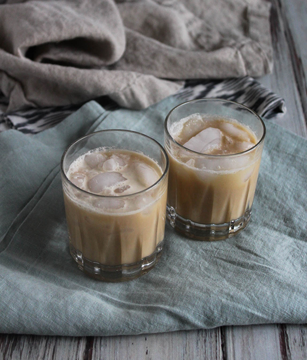 two glasses of easy cold brew coffee with bourbon cream on a table