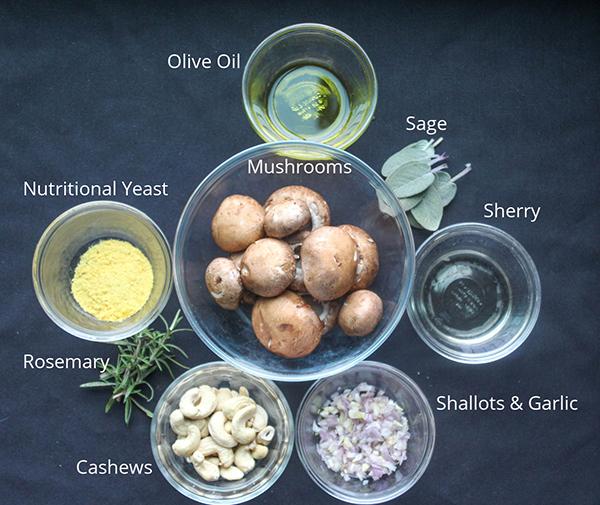 A view of the ingredients: olive oil, sage, sherry, shallots and garlic, cashews, rosemary and nutritional yeast