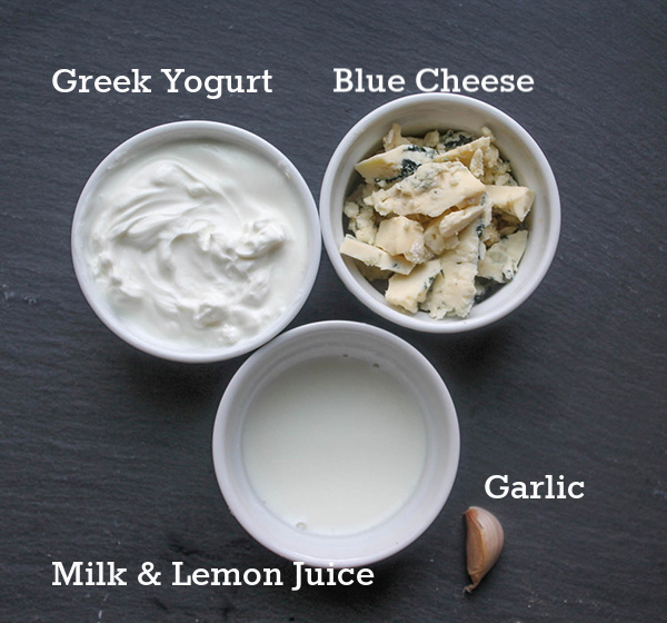 a picture of the ingredients for homemade blue cheese dressing
