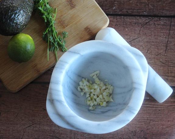 garlic an onions in a mortar (bowl)