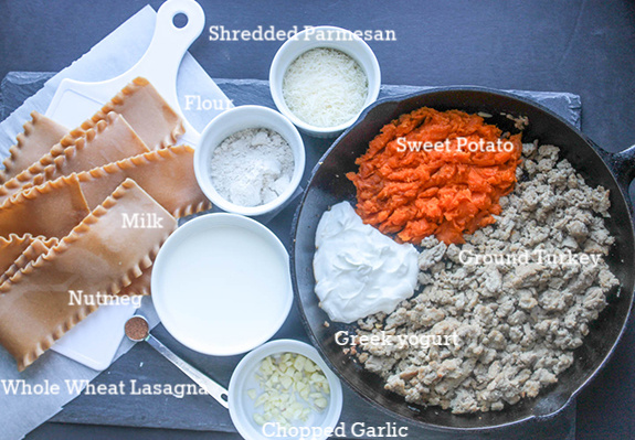 all of the ingredients: lasagna noodles, nutmeg, milk, garlic, greek yogurt, ground turkey, sweet potato, flour and parmesan cheese