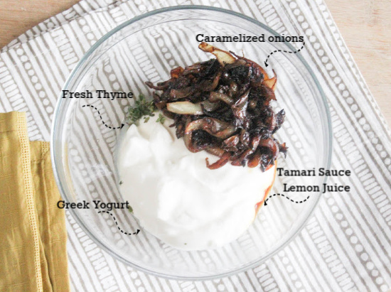 A picture of the ingredients, caramelized onions, tamari sauce & lemon juice, Fresh Thyme, Greek Yogurt