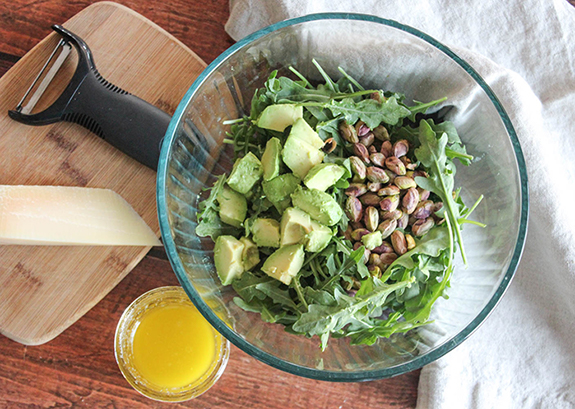an overhead veiw of salad ingredients in a bowl