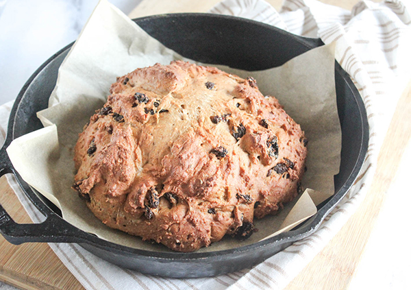 Baked Soda bread in a cast iron pan