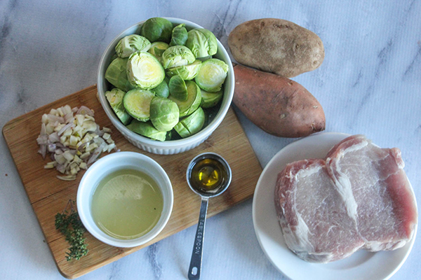 The ingredients for oven baked pork chops recipe