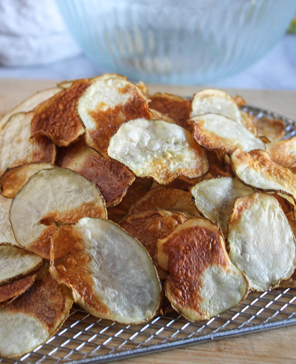 potato chips on a board
