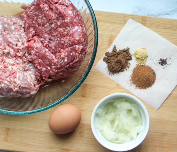 the ingredients ; egg, onion, ground meat