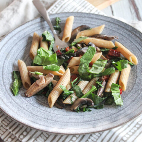 Pasta and Spinach with Musrhooms