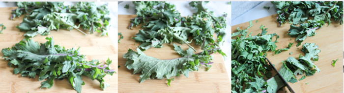 A collage of the process of slicing kale, stack it, roll it and slice it