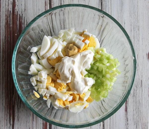 egg salad ingredients diced celery, chopped eggs, mustard, greek yogurt