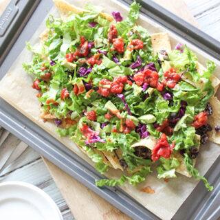Easy Black Bean Sheet Pan Nacho Salad