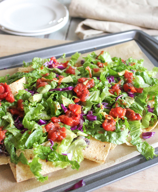 Sheet pan nacho salad on a pan