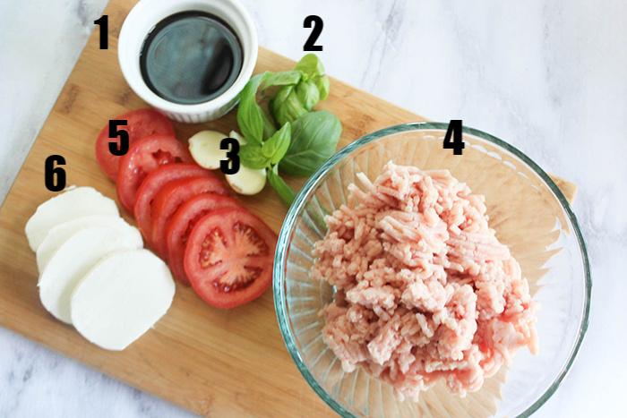 The ingredients 1 balsamic vinegar, 2 basil, 3 garlic, 4 ground chicken, 5 sliced tomatoes 6 mozzarella cheese slices