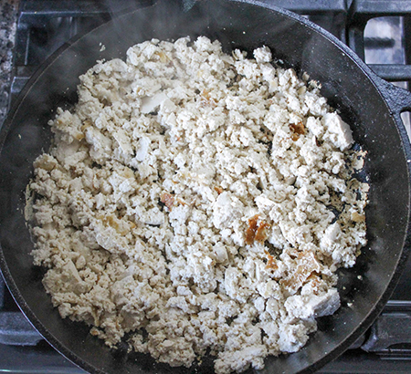 cooked tofu in a pan