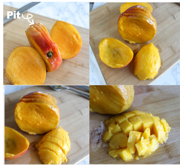 a collage showing how to cut fresh mangoes