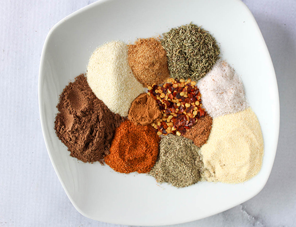 all of the ingredients for the spice blend not mixed together