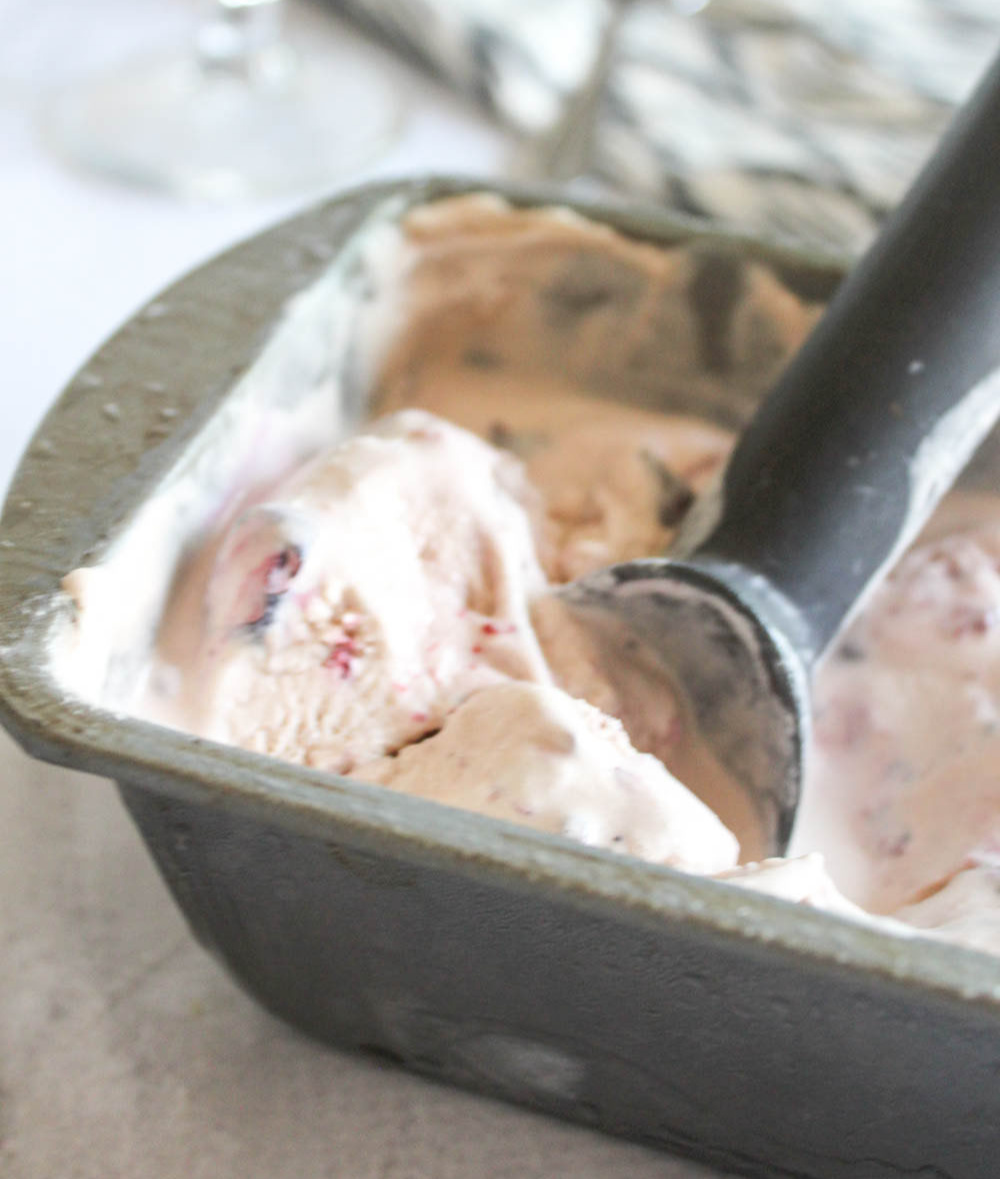 ice cream in a pan with a scoop