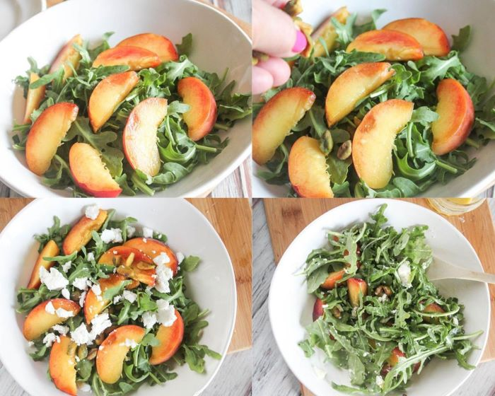 Process photos of salad: peaches with arugula, adding pistachos, cheese and the completed salad with spoon