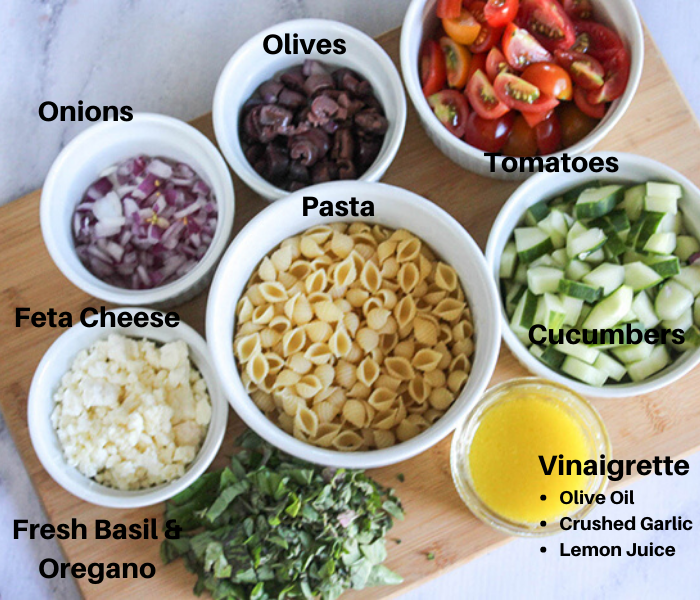 all of the ingredoemts for the salad in white bowls: chopped herbs, feta cheese, onions, olives, tomatoes, cucumbers pasta and dressing
