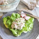 chicken salad on a plate with radishes and a fork on the side