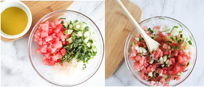 Process steps to make the recipe: diced watermelon, cucumbers and fresh mint in a bowl, picture 2 all of the ingreients mixed together.