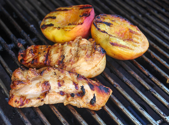 Peaches and chicken on the grill