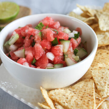 a bowl of cucumber watermelon salsa