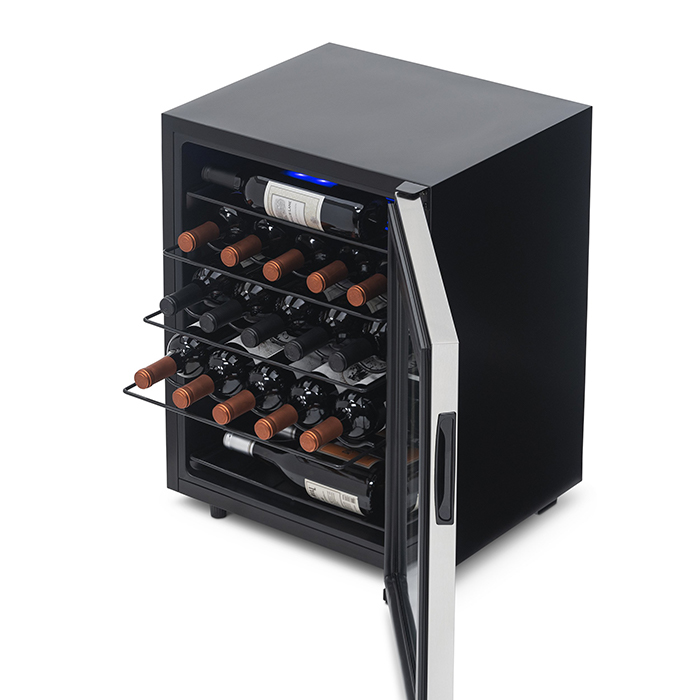 A wine refrigerator filled with wine bottles