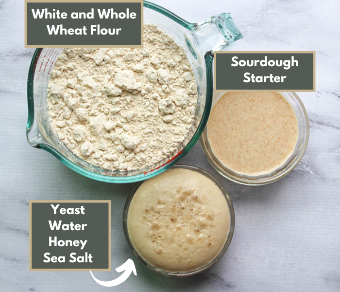 a overhead view of the ingredients: flour, dissolved yeast, and sourdough starter