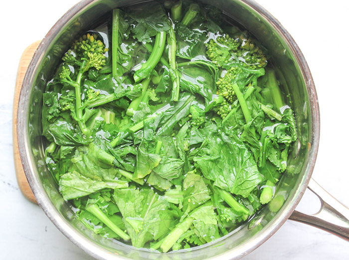 Broccoli Rabe in a saucepan with water