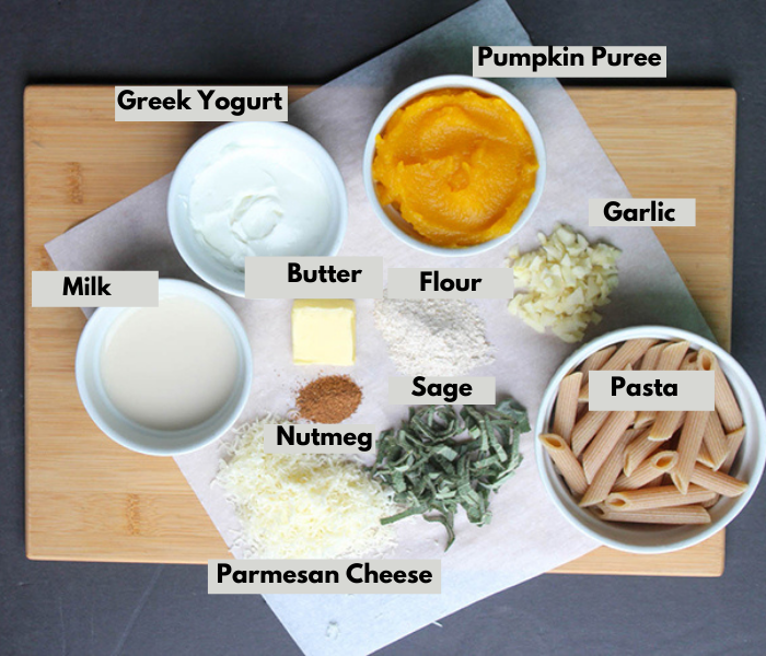 The ingredients: Clockwise Milk, Greek Yogurt. Pumpkin Puree, Garlic, Pasta, Sage, Nutmeg, cheese, butter and flour