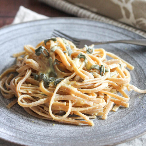 linguine on a plate with a fork