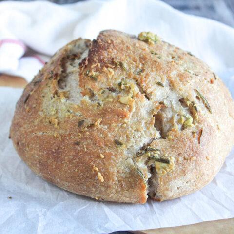 sourdough bread on parchment paper