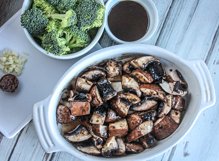 The Ingredients: marinated raw portobello mushrooms, sriracha sauce, garlic, broccoli and Korean BBQ Sauce