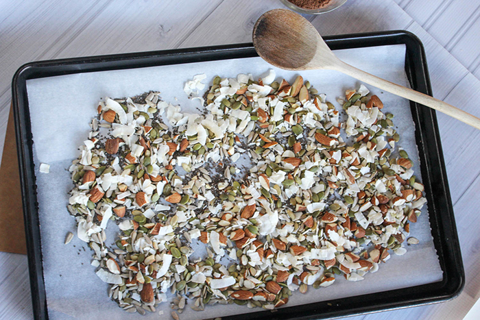 an overhead view of the almonds, coconut flakes and seeds on a baking sheet