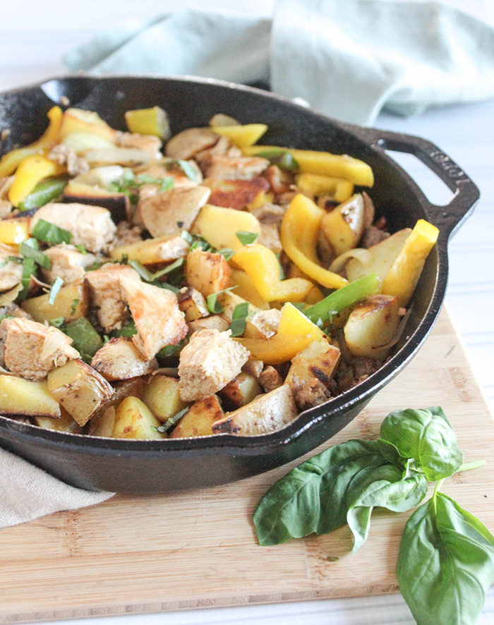 chicken giambotta cooked in a skillet