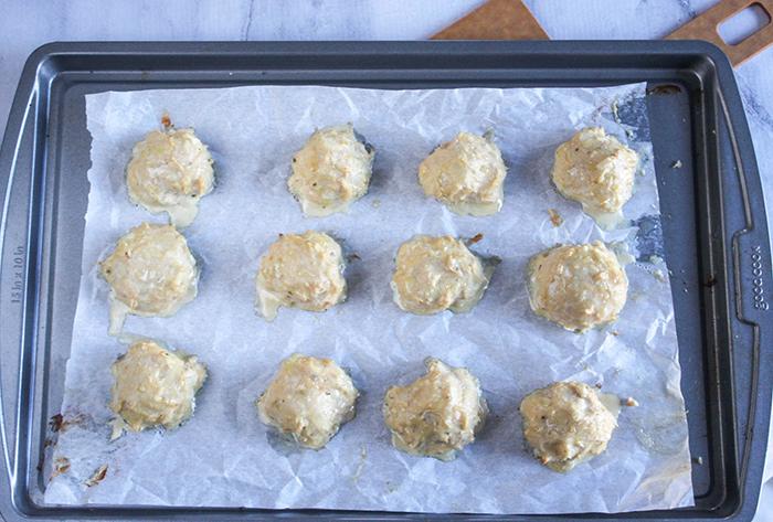 baked meatballs on a sheet pan