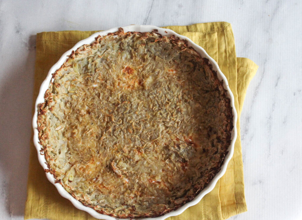 potato crust baked in a pie plate