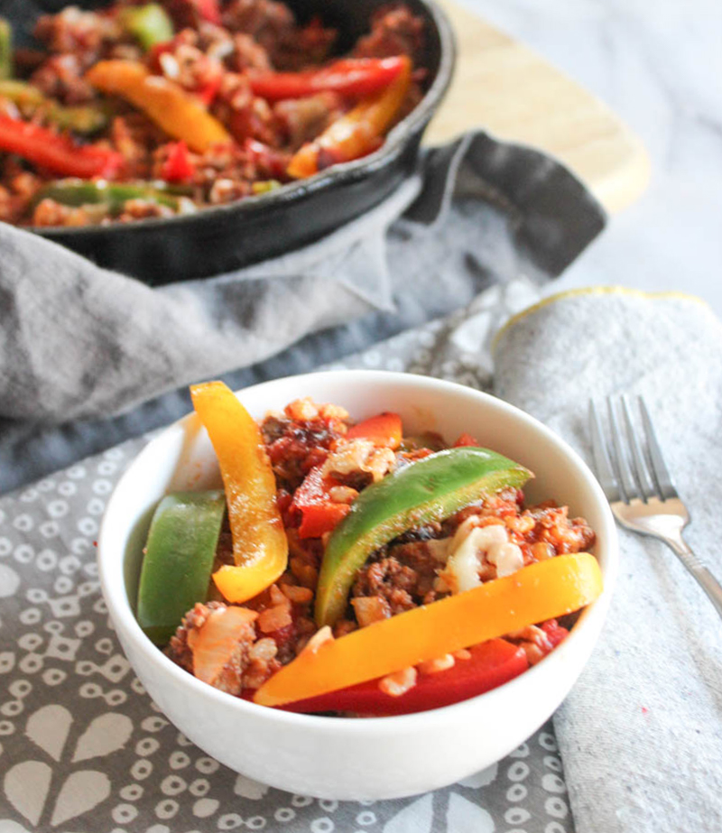 deconstructed stuffed peppers in a white bowl
