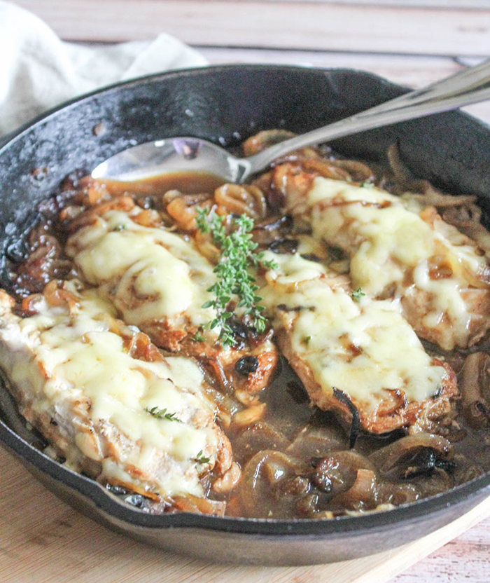 onion soup chicken in a skillet