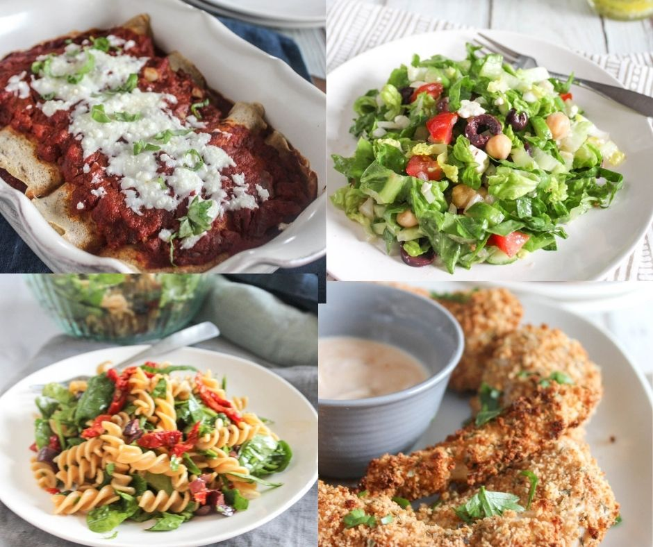collage of recipes: manicotti, chopped salad, pasta salad, chicken tenders.