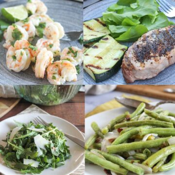 a collage of shrimp, pork chops, salad and green beans