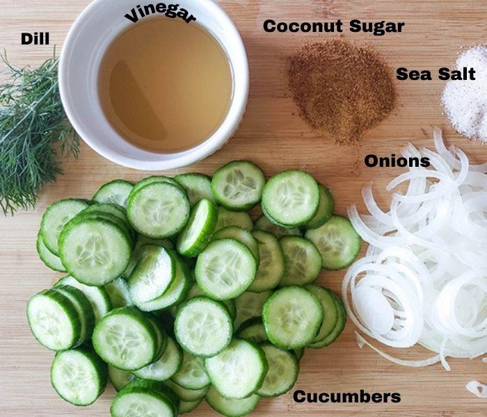 Cucumbers in vinegar ingredients: onions, cucumbers, dill and vinegar