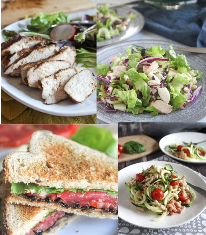 a collage of recipes for the week: Jerk chicken, chopped salad,  vegan BLT, zucchini noodles with chicken