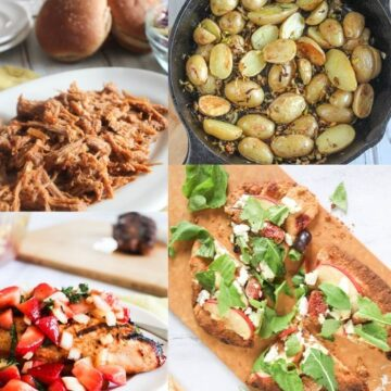 a collage of recipes: chicken with strawberry salsa, bbq pork, roasted potatoes and apple fig flatbread