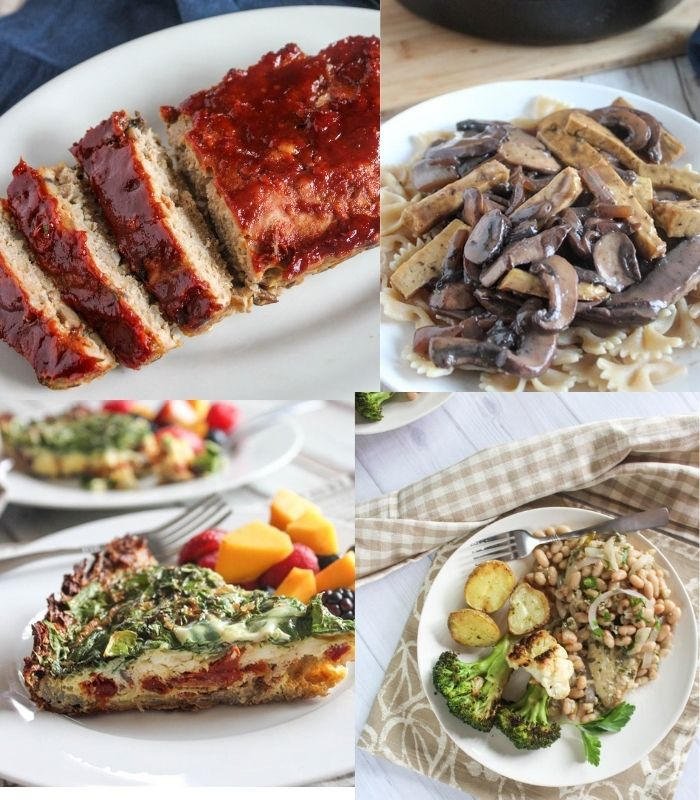 a collage of comforting  recipes: meatloaf, tofu stroganoff, quiche, herb chicken