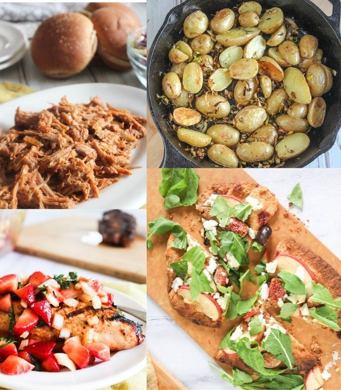 Collage of recipes: Pulled Pork, Roasted Potatoes, Strawberry Salsa Chicken and Apple Fig Flatbread